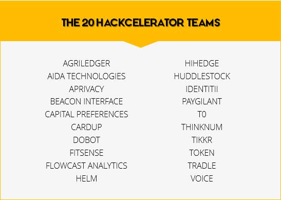 the 20 hackcelerator teams